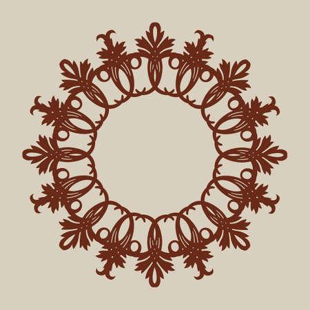 적합: The template pattern for decorative round panel. A picture suitable for paper cutting, printing, laser cutting or engraving wood, metal, stencil manufacturing 일러스트
