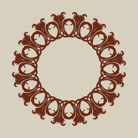Brown geometric ornament. The template pattern for decorative round panel. A picture suitable for paper cutting, printing, laser cutting or engraving wood, metal, stencil manufacturing Illustration