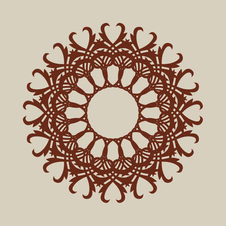 Abstract round frame. Geometric ornament. The template pattern for decorative round panel.