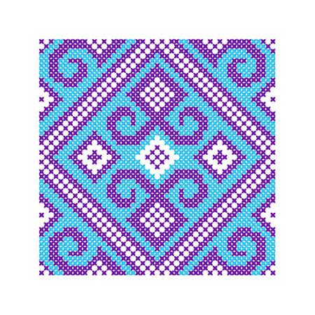 punto de cruz: Ornamento étnico. Patrón para la cruz tradicional del bordado o el tejido del grano Vectores