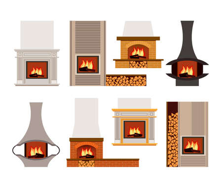 woodpile: Vector set of classical and modern home fireplaces with fire. Flat design. Illustration isolated on white background