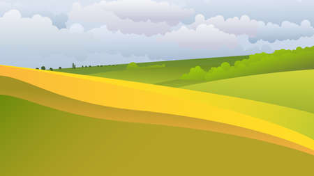 green fields: Green landscape with endless fields on the hills.The rural nature. Vector illustration Illustration
