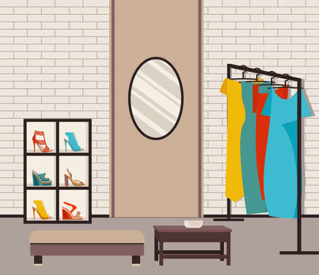 clothing rack: Vector illustration modern loft interior showroom fashion. Illustration