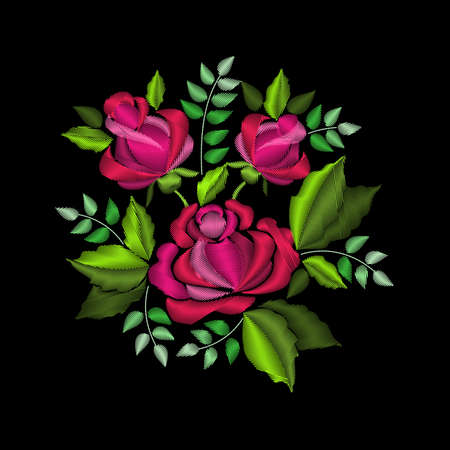 necklaces: Bouquet of red roses. Stylish, fashionable, bright floral arrangements for embroidery textile products