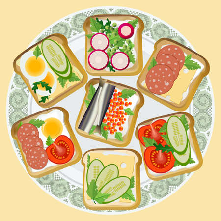 A plate of toast. Fried slices of bread with a variety of snacks: vegetables, fish, sausage, egg and cheese. Vector illustration