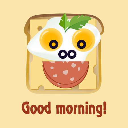 An American Breakfast. Funny face from toast, cheese, fried eggs, sausage and olives. Wish good morning Ilustração