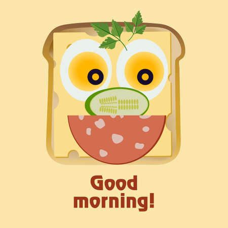 An American Breakfast. Funny face from toast, cheese, fried eggs, cucumber, sausage and olives. Wish good morning Ilustração