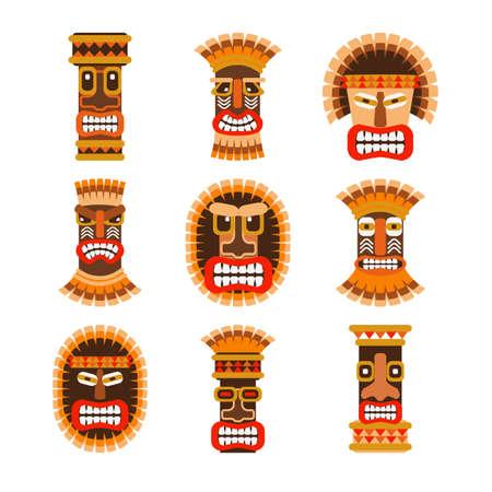 australian culture: Tribal ethnic african ritual masks set. Vector illustration Illustration
