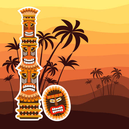 Tribal ethnic african ritual totem and mask. Vector illustration