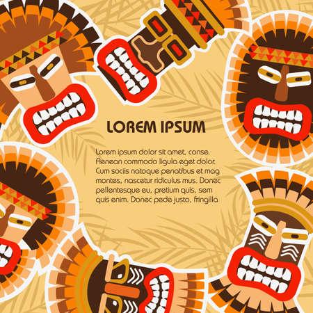 Vlakke achtergrond met kleurrijke Afrikaanse etnische stammenmaskers van verschillende vorm op de palmbladen. Vector illustratie