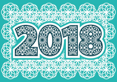 2018 Gelukkig Nieuwjaar. Achtergrond met tekstgroeten. Vector illustratie voor vakantiekaarten, feestelijke uitnodiging, kalender, poster of banner