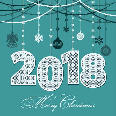 2018 Gelukkig Nieuwjaar. Achtergrond met kerstversiering, sneeuwvlokken en ballen. Vector illustratie voor vakantiekaarten, feestelijke uitnodigingen, kalender, poster of banner Stock Illustratie