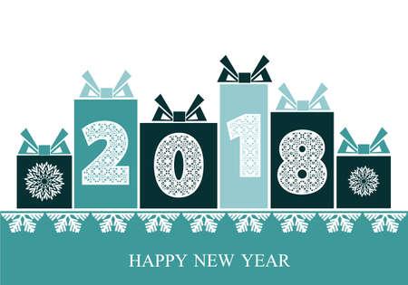 2018 Gelukkig Nieuwjaar. Achtergrond met kerstcadeaus. Vector illustratie voor vakantiekaarten, feestelijke uitnodigingen, kalender, poster of banner Stock Illustratie