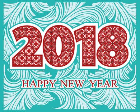2018 Gelukkig Nieuwjaar. Achtergrond met groettekst op de tracery van de vorstpatroon. Vector illustratie voor vakantiekaarten, vakantieuitnodigingen, kalender, poster of banner