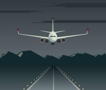 Nachtlanding van een passagiersvliegtuig op de baan. Vliegtuigen vliegen laag over het vliegveld. Vooraanzicht van het vliegtuig. Vector illustratie