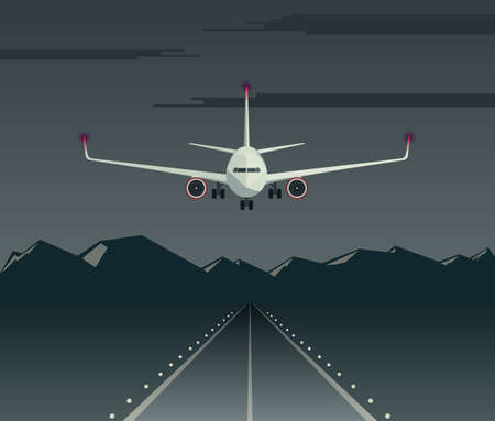 Night landing of a passenger plane on the runway. Aircraft flies low over the airfield. Airplane front view. Vector illustration. Ilustração