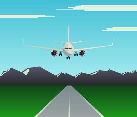 Een passagiersvliegtuig op de startbaan landen. Vliegtuigen vliegen laag over het vliegveld. Vooraanzicht van het vliegtuig. Vector illustratie Stock Illustratie