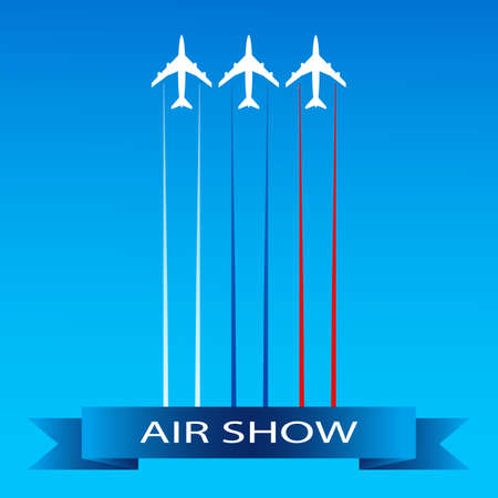 Card or poster for air show advertising. Airplanes flying in the sky in combat order. Team aerobatic military fighters performs flight at air show. Vector illustration in flat style