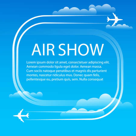 Air show. Manoeuvres two military fighters. The aircrafts leave white plumes smoke in the blue sky. Aerobatics. Banner for the airshow. Vector illustration.