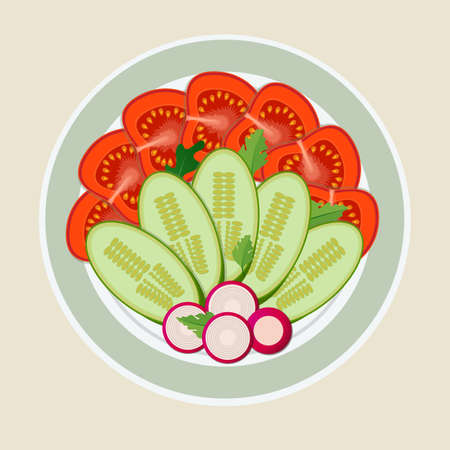 A dish of cut vegetables. Tomatoes, radish and cucumber nicely laid out on plate. Concept healthy eating. Illustration