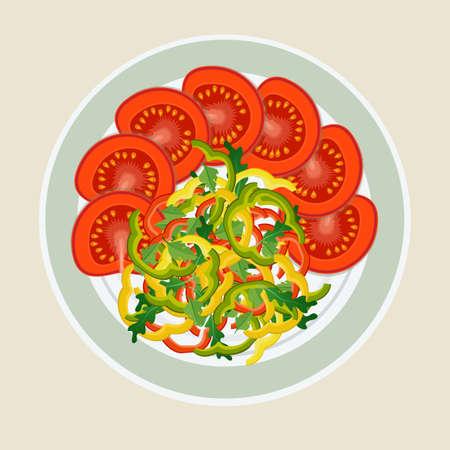 Een gerecht van gesneden groenten. Tomaten en paprika's mooi op het bord neergelegd. Het concept van gezond eten.