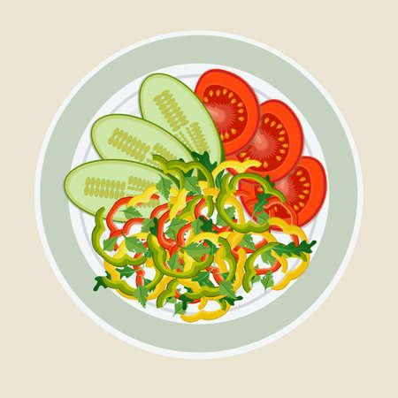 Een gerecht van gesneden groenten. Tomaat, peper en komkommer mooi op het bord neergelegd. Het concept van gezond eten.