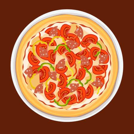 Traditionele Italiaanse pizza met tomaat, worst en peper op een grote plaat.
