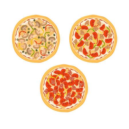Drie pizza's met tomaten, champignons, worst en paprika op de plaat geïsoleerd op een witte achtergrond. Vector illustratie