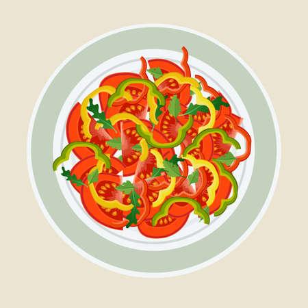 Salade van tomaten en paprika's in een lichte plaat. Het concept van gezond eten. Stock Illustratie