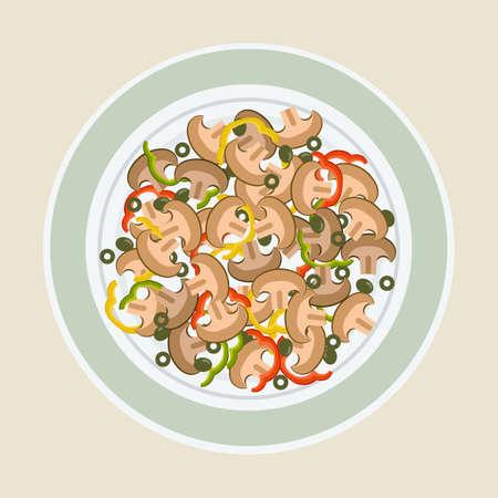 Salade van champignons, olijven en peper op een groot bord. Vector illustratie Stock Illustratie