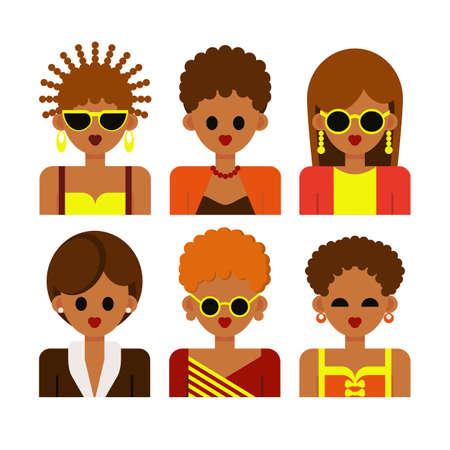 Het vrouwelijk gezicht. Vrouwen en mooie jonge meisjes met verschillende huidskleuren, verschillende kapsels in kleurrijke kleding, geïsoleerd op een witte achtergrond. Vector illustratie