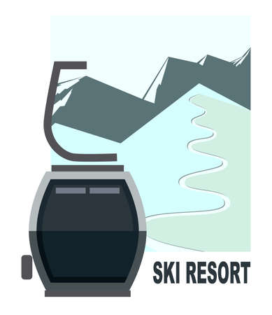 Cabin lift for skiers and snowboarders on the background of winter snow mountains, hills, ski slopes. Vector flat illustration for advertising banner.