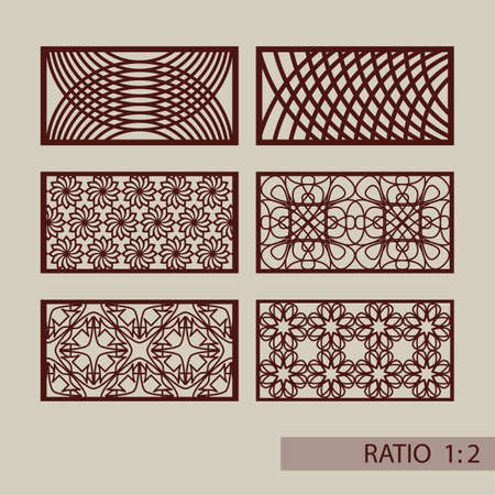 Set of geometric ornaments. Collection of decorative panel templates. The drawing is suitable for cutting paper, printing, laser cutting or engraving wood, metal. Manufacturer of stencils. Vector illustration