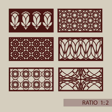 Set of geometric ornaments. Collection of decorative panel templates. The drawing is suitable for cutting paper, printing, laser cutting or engraving wood, metal. Manufacturer of stencils. Vector illustration Illustration