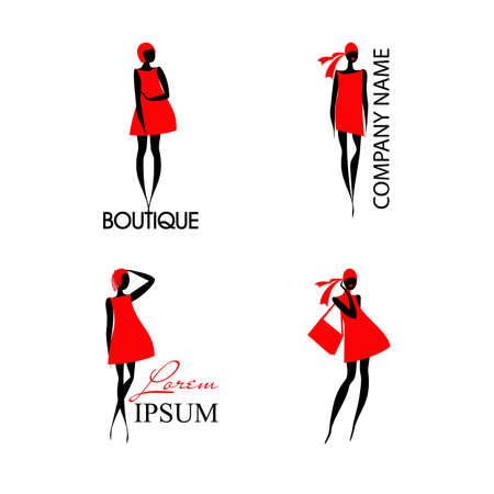 Set with fashion woman and text isolated on white background. Black silhouette of lady in red dress. An excellent template for your company. Images can be used with many kind of business. Vector illustration, editable graphic design