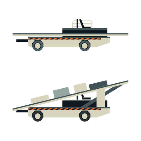 Passenger airport ground technics isolated set in flat style. Baggage cart vector illustration. Aviation terminal logistics and airport infrastructure elements Illusztráció