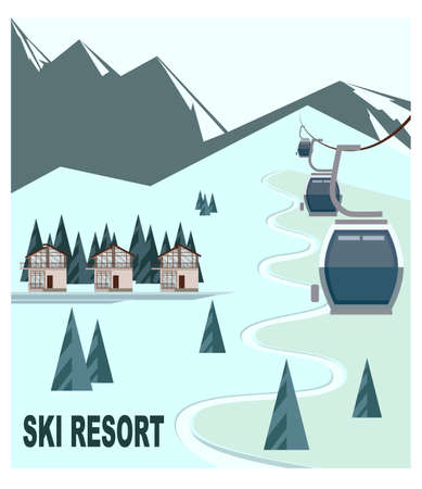 Ski resort with snow-capped mountain peaks. Cabins Ski lift for skiers and snowboarders on the background of winter snow mountains, hills, chalet, resort house. Flat vector illustration for advertising banner.