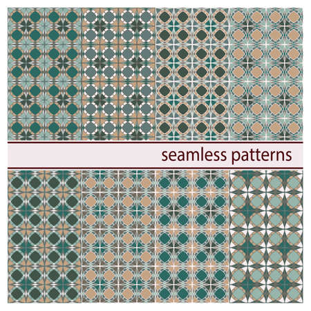 Collection of abstract graphical geometric vector seamless patterns. Ornamental decorative background for cards, invitations, web design, etc