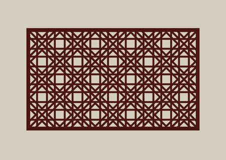 Geometric ornament. The template pattern for decorative panel. A picture suitable for paper cutting, printing, laser cutting or engraving wood, metal. Stencil manufacturing. Vector Vettoriali