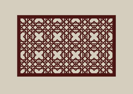 Geometrische Verzierung. Das Schablonenmuster für dekoratives Paneel. Ein Bild geeignet zum Schneiden von Papier, Drucken, Laserschneiden oder Gravieren von Holz, Metall. Schablonenherstellung. Vektor Vektorgrafik