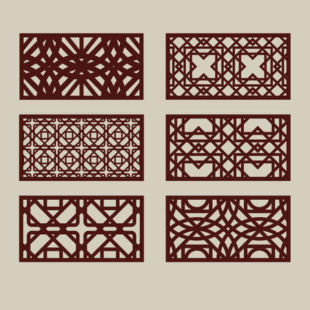 Set of geometric ornaments. Collection of decorative panel templates. The drawing is suitable for cutting paper, printing, laser cutting or engraving wood, metal. Manufacturer of stencils. Vector