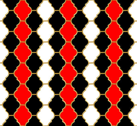 Mesh Harlequin ornament. Golden metallic grid with black, white and red cells. Abstract seamless pattern for interior decoration, design packaging and textile etc. Vector illustration Vector Illustration