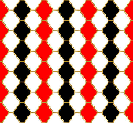 Harlequin pattern. Golden grid with black, white and red cells. Abstract seamless pattern for interior decoration, design packaging and textile etc. Vector illustration