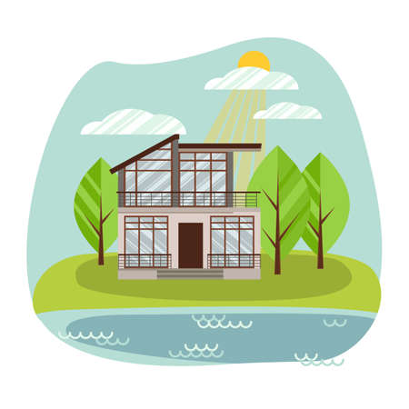 Country house. Modern flat cottage, front view with terrace. Concept acquisition or construction of real estate objects, renting a tourist home. Vector illustration