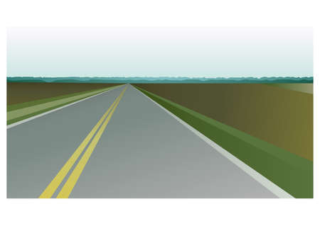 Rural landscape, highway. Horizon with asphalt road through farm fields. Summer travel, trip background. Poster, banner design idea. Flat vector illustration Illusztráció