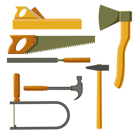 Carpenter tools set in flat style isolated on a white background. Services construction, decoration, repair of houses, offices. Sales and rentals building instruments