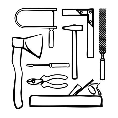 Carpenter tools set in doodle style isolated on a white background. Services construction, decoration, repair of houses, offices. Sales and rentals building instruments