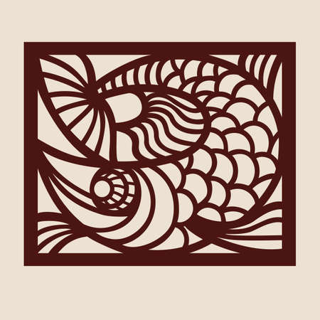 Template fish for laser cutting. Abstract stylized animal for cut. Stencil for decorative panel of wood, metal, paper. Vector illustration Standard-Bild - 143296179