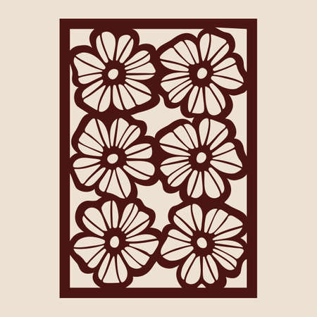 Floral geometric ornament. The template pattern for decorative panel. A picture suitable for paper cutting, printing, laser cutting or engraving wood, metal. Stencil manufacturing. Vector Vektorgrafik