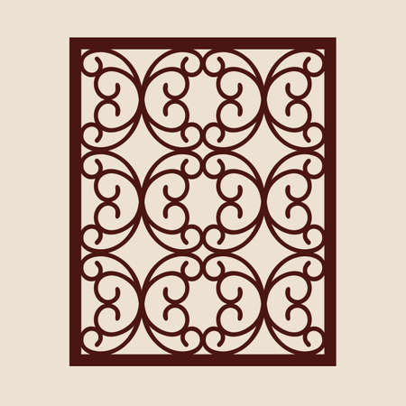 Geometric ornament. The template pattern for decorative panel. A picture suitable for paper cutting, printing, laser cutting or engraving wood, metal. Stencil manufacturing. Vector